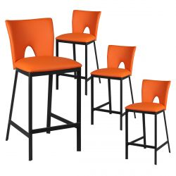 Catalia - Lot de 4 Tabourets Métal Noir et Simili Orange