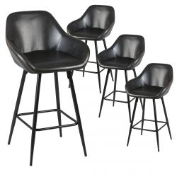 Thome - Lot de 4 Tabourets de Bar Simili Noir