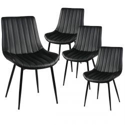Carolann - Lot de 4 Chaises Noires Métal et PVC