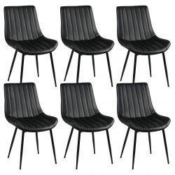 Carolann - Lot de 6 Chaises Noires Métal et PVC