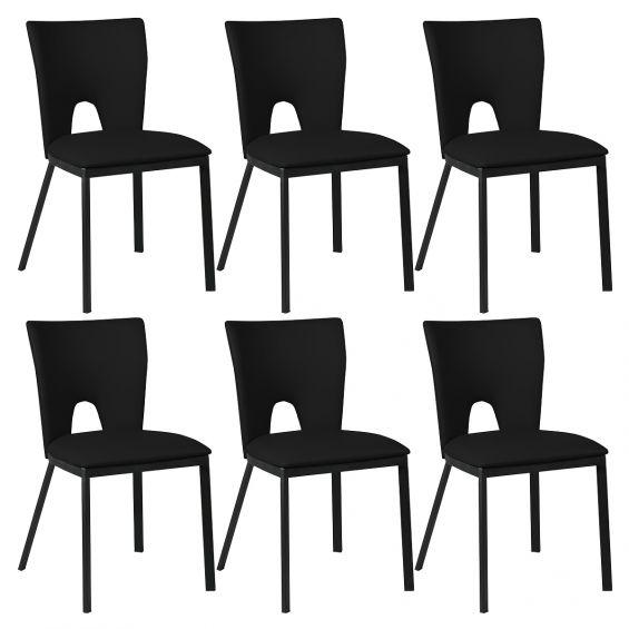Catalia - Lot de 6 Chaises Noires Métal et Simili