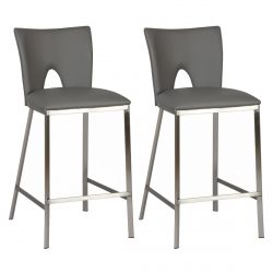Catalia - Lot de 2 Tabourets Gris