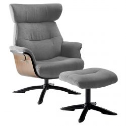 OBANOS - Fauteuil Inclinable + Repose-Pieds Gris