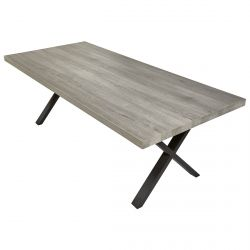 MASSYLE - Table Rectangulaire 200cm Aspect Bois