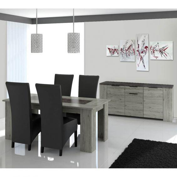 Ryki - Ensemble Table 160cm + Buffet 3 Portes 1 Tiroir