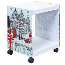 Isla - Table d'Appoint sur Roulettes Motif Londres