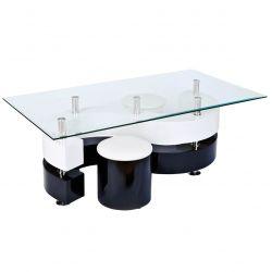Welle - Table Basse Rectangulaire et 2 Poufs Noir et Blanc