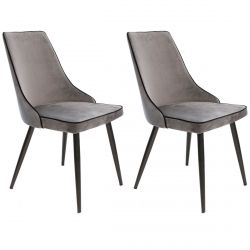 Vamara - Lot de 2 Chaises Velours Coloris Gris