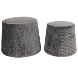 Pierry - Lot de 2 Poufs Empilables Velours Gris
