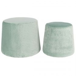 Pierry - Lot de 2 Poufs Empilables Velours Vert d'Eau