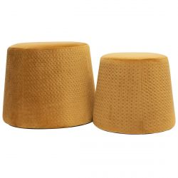 Pierry - Lot de 2 Poufs Empilables Velours Orange