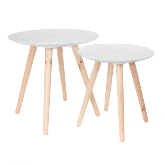 Tania - Tables Gigognes Blanches Motif Gouttelettes
