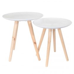 Tania - Tables Gigognes Blanches Motif Feuille
