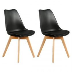 Medaline - Lot de 2 Chaises Scandinaves Noires