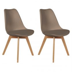 Medaline - Lot de 2 Chaises Scandinaves Taupe