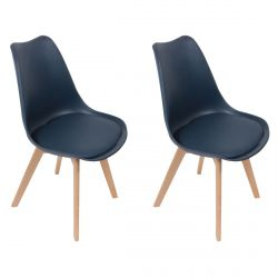 MEDALINE - Lot de 2 Chaises Scandinaves Bleues