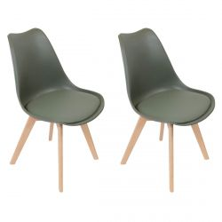 Medaline - Lot de 2 Chaises Scandinaves Kaki