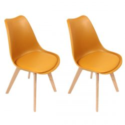 Medaline - Lot de 2 Chaises Scandinaves Jaunes