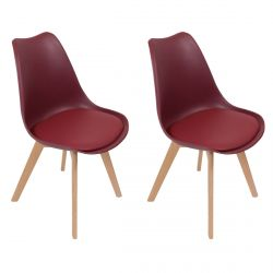 MEDALINE - Lot de 2 Chaises Scandinaves Bordeaux