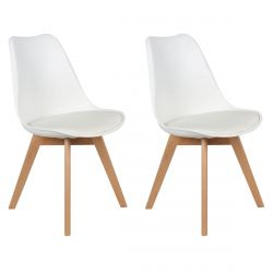 Medaline - Lot de 2 Chaises Scandinaves Blanches