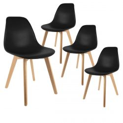 Melya - Lot de 4 Chaises Scandinaves Noires