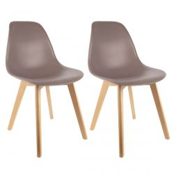 Melya - Lot de 2 Chaises Scandinaves Taupe