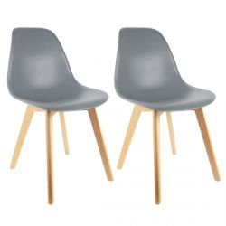 Melya - Lot de 2 Chaises Scandinaves Grises