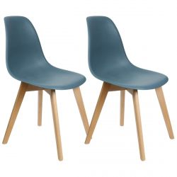 MELYA - Lot de 2 Chaises Scandinaves Bleu Canard