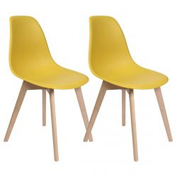 MELYA - Lot de 2 Chaises Scandinaves Jaune Moutarde