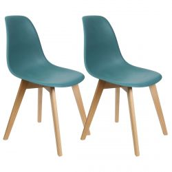 MELYA - Lot de 2 Chaises Scandinaves Bleu Céladon