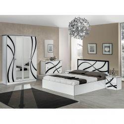 SYLLA BLANCHE - Chambre Complète avec Lit 160x200cm