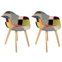 Patchwork - Lot de 2 Fauteuils Scandinaves Multicolore