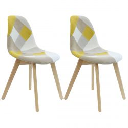 DAMAS - Lot de 2 Chaises Patchwork Jaunes