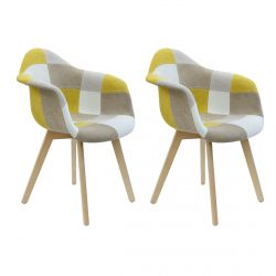 Damas - Lot de 2 Fauteuils Patchwork Jaunes
