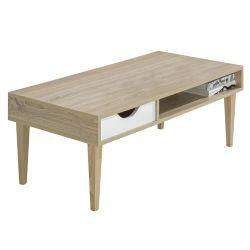 ANEBY - Table Basse 1 Tiroir 1 Niche Effet Bois