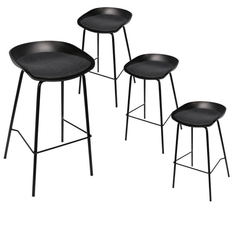 Hekla Lot de 4 Tabourets de Bar Métal Noir