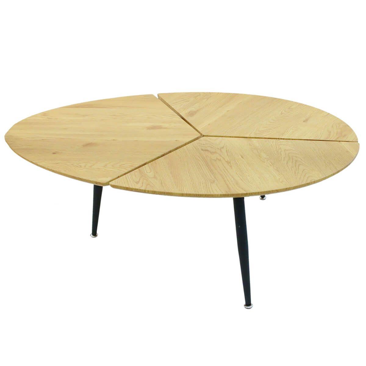 Altobuy Milda Table Basse Ovale Pieds Metal Et Plateau Bois Neuf Ebay