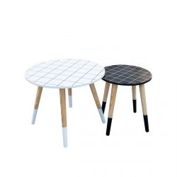 Fliser - Lot de 2 Tables Basses Gigognes Motif Carreaux