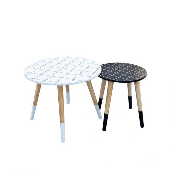 Fliser - Lot de 2 Tables Basses Gigognes Motif Carreaux