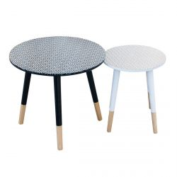 DIAMANTE - Lot de 2 Tables Basses Gigognes Motif Losanges
