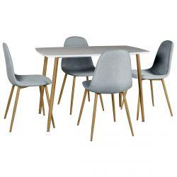 Winter - Ensemble Table + 4 Chaises Gris Clair