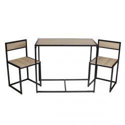 Otalia - Ensemble Table et 2 Chaises Métal et Aspect Bois