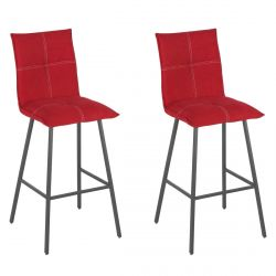 LAGOS - Lot de 2 Tabourets Rouges Assise H76cm