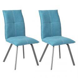 BISPO - Lot de 2 Chaises Tissu Coloris Bleu