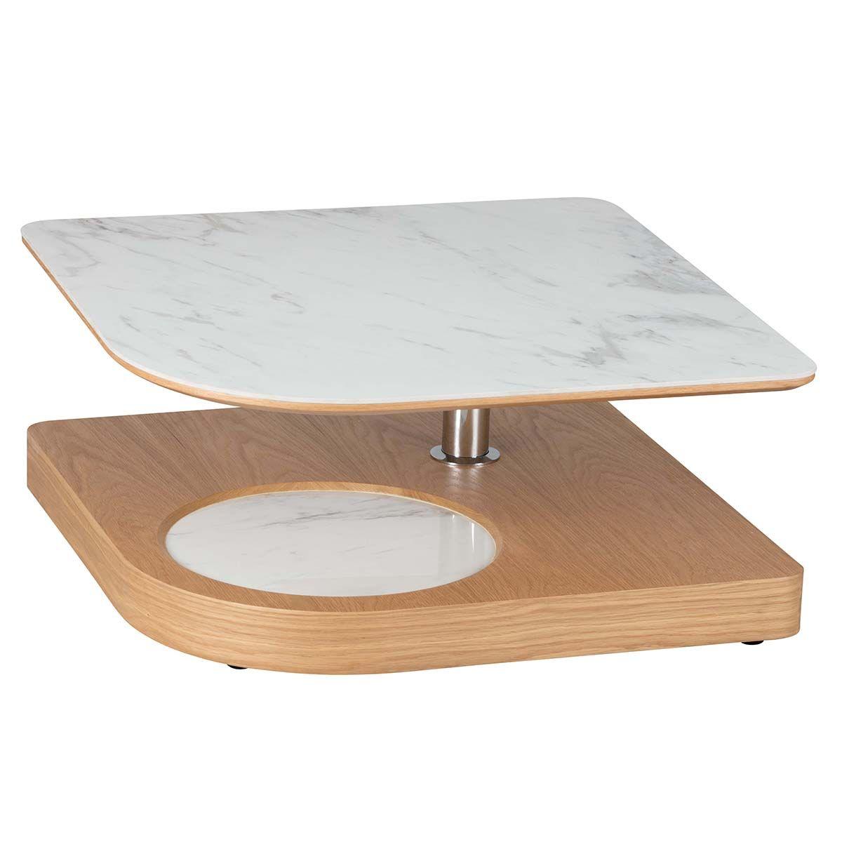 Altobuy - KHAZ - Table Basse avec Plateau Excentré Effet Ma