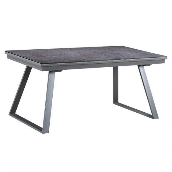 Dirua - Table Repas Rectangulaire Métal et Verre