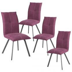 BISPO - Lot de 4 Chaises Tissu Coloris Violet