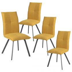 BISPO - Lot de 4 Chaises Tissu Coloris Jaune