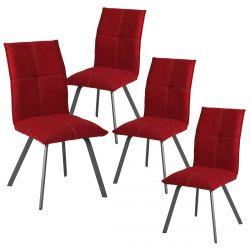 BISPO - Lot de 4 Chaises Tissu Coloris Rouge