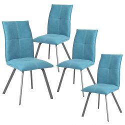 BISPO - Lot de 4 Chaises Tissu Coloris Bleu